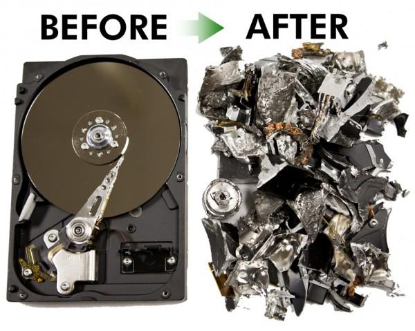 Destruction disque dur par broyage mécanique.