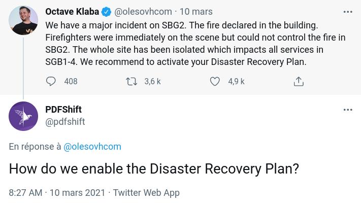 Discussion Twitter d'Octave Klaba demandant d'activé le Disaster Recovery Plan / Plan de Reprise d'Activité et un client répondant comment s'active cette option.