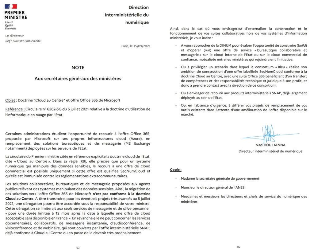 Circulaire de la Direction interministérielle du Numérique sur l'usage des Clouds